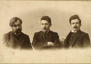 Georgy Chulkov, Vasili Milioti and Genrich Tasteven, Russian writers, 1900s. Artist: Unknown