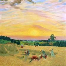 'The Harvest', 1914.  Artist: Boris Mikhajlovich Kustodiev