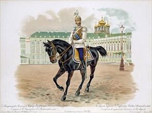 Tsar Nicholas II of Russia in the uniform of His Majesty's Life Cuirassiers Guard Regiment, 1896. Artist: Anon