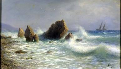 'At the Livadia shore', 1895.  Artist: Lev Felixovich Lagorio