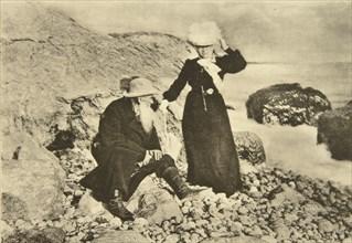 Russian author Leo Tolstoy and his wife Sophia by the Black Sea, Crimea, Russia, 1902. Artist: Sophia Tolstaya