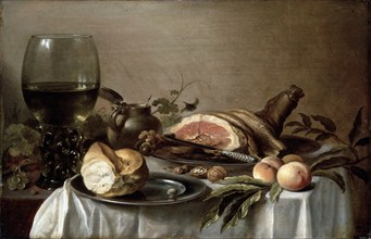 'Breakfast with Ham', 1647.  Artist: Pieter Claesz
