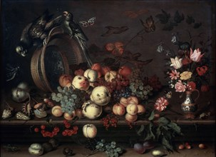 'Still Life with Fruits, Flowers and Parrots', 1620s. Artist: Balthasar van der Ast