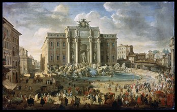 'The Trevi Fountain in Rome (Pope Benidict XIV Visits the Trevi Fountain in Rome)', 18th century. Artist: Giovanni Paolo Panini