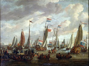 'Tsar Peter I visiting England in January 1698', early 18th century. Artist: Abraham Storck