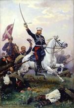 Russian General Mikhail Skobelev on horseback, (1883). Artist: Nikolai Dmitrievich Dmitriev-Orenburgsky