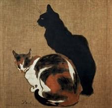 'Two Cats', 1894.  Artist: Theophile Alexandre Steinlen