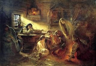 'Christmas Eve Fortune Telling', 19th century.  Artist: Konstantin Makovsky