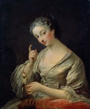 'Lady with a Bird', 18th century.  Artist: Louis Michel van Loo