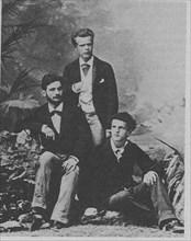 Von Meck Trio. Wladyslaw Pachulski (standing) with Pyotr Danilchenko and Claude Debussy (seated), 1882.
