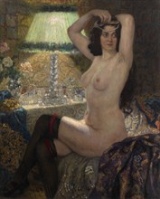 By the Green Lamp. Artist: Bogdanov-Belsky, Nikolai Petrovich (1868-1945)