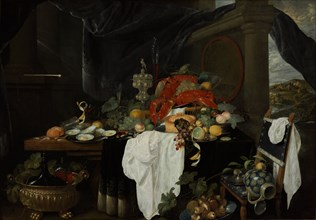 Pronk Still Life with Fruit, Oyters, and Lobsters, c. 1640. Artist: Benedetti, Andries (active Mid of 17th cen.)