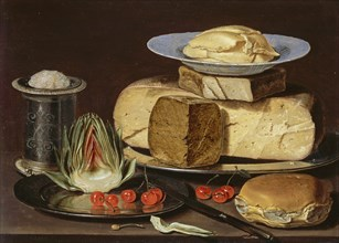 Still Life with Cheeses, Artichoke, and Cherries, ca 1625. Artist: Peeters, Clara (1594-1658)