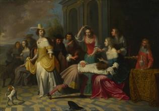 Ladies and Gentlemen playing La Main Chaude, c. 1655-1665. Artist: Janssens, Hieronymus, (Workshop)