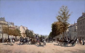 View of the Champs-Elysees from the Place de l'Etoile in Paris, 1878. Artist: Grandjean, Edmond (1844-1908)