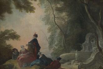 Gallant Party by a Fountain. Artist: Lajoue, Jacques, de (1686-1761)