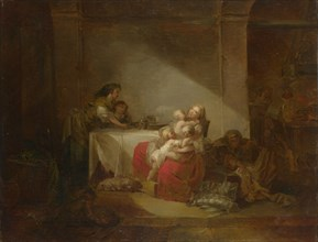 Interior Scene. The Happy Mother, Second Half of the 18th cen.. Artist: Fragonard, Jean Honoré (1732-1806)