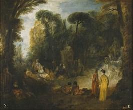 Courtly Gathering In A Park, 1712-1713. Artist: Watteau, Jean Antoine (1684-1721)