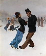 Ice Skaters, c. 1920. Artist: Klinger, Max (1857-1920)