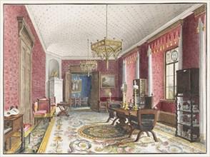 The Red Room, Schloss Fischbach, c. 1846. Artist: Klose, Friedrich Wilhelm (1804-1863)