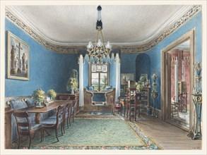 The Blue Room, Schloss Fischbach, 1846. Artist: Klose, Friedrich Wilhelm (1804-1863)