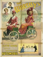 The Wortley's in their great electric musical novelty transformation Automobil, 1896. Artist: Friedländer, Adolph (1851-1904)