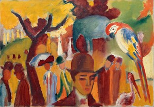 Small Zoological Garden in Brown and Yellow, 1912. Artist: Macke, August (1887-1914)