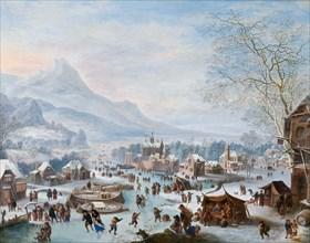 Winter Scene with Skaters. Artist: Griffier, Jan (ca 1652-1718)