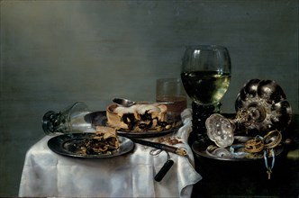 Breakfast Table with Blackberry Pie, 1631. Artist: Heda, Willem Claesz (1594-1680)