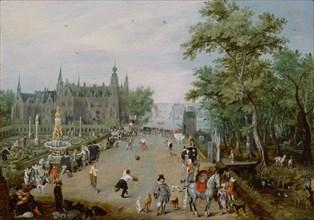 Jeu de Paume Before a Country Palace, ca 1614. Artist: Venne, Adriaen Pietersz. van de (1589-1662)