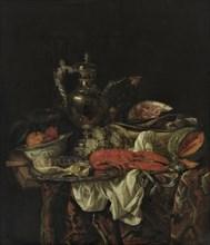 Still life with a silver pitcher, 1660s. Artist: Beijeren, Abraham Hendricksz, van (1620/21-1690)