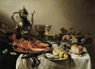 Table with lobster, silver jug, big Berkemeyer, fruit bowl, violin and books, 1641. Artist: Claesz, Pieter (c. 1597-1660)