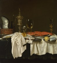 Still Life with a Lobster, c. 1650-1660. Artist: Heda, Willem Claesz (1594-1680)