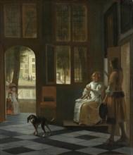 A Woman Directing a Young Man With a Letter, 1670. Artist: Hooch, Pieter, de (1629-1684)