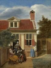 A company in the courtyard behind a house, 1663-1665. Artist: Hooch, Pieter, de (1629-1684)