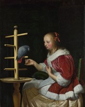 A Woman in a Red Jacket feeding a Parrot, ca 1663. Artist: Mieris, Frans van, the Elder (1635-1681)