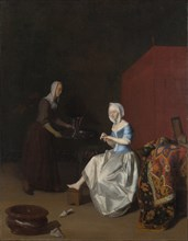 A Young Lady trimming her Fingernails, attended by a Maidservant, c. 1670. Artist: Ochtervelt, Jacob Lucasz. (1634-1682)