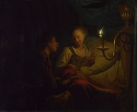 A Candlelight Scene. A Man offering a Gold Chain and Coins to a Girl seated on a Bed, ca. 1665-1667. Artist: Schalcken, Godfried Cornelisz (1643-1706)