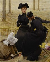 Conversation in the Jardin du Luxembourg, 1892. Artist: Corcos, Vittorio Matteo (1859-1933)