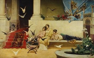 Feeding the pigeons. Artist: Kotarbinsky, Vasilii (Wilhelm) Alexandrovich (1849-1921)