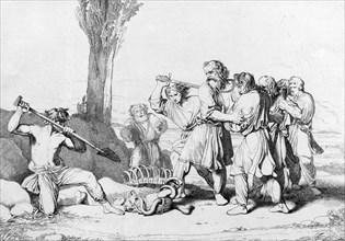 The Death of Grand Duke Oleg, before 1839. Artist: Bruni, Fyodor Antonovich (1800-1875)