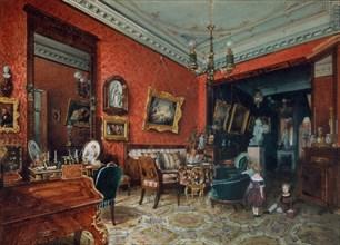 A living room, 1840s. Artist: Premazzi, Ludwig (Luigi) (1814-1891)