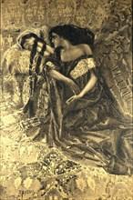 Tamara and Demon. Illustration to the poem The Demon by Mikhail Lermontov, 1890-1891. Artist: Vrubel, Mikhail Alexandrovich (1856-1910)