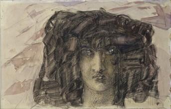 Demon's head. Illustration to the poem The Demon by Mikhail Lermontov, 1890-1891. Artist: Vrubel, Mikhail Alexandrovich (1856-1910)