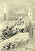 Tamara in the coffin. Illustration to the poem The Demon by Mikhail Lermontov, 1890-1891. Artist: Vrubel, Mikhail Alexandrovich (1856-1910)