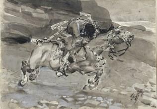 Horseman. Illustration to the poem The Demon by Mikhail Lermontov, 1890-1891. Artist: Vrubel, Mikhail Alexandrovich (1856-1910)