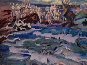 Thirty-Three Bogatyrs, 1901. Artist: Vrubel, Mikhail Alexandrovich (1856-1910)