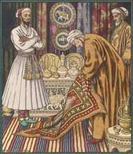 Prince Ali buying a carpet. Illustration for Arabian Fairy Tales. Artist: Bilibin, Ivan Yakovlevich (1876-1942)
