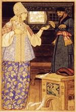 Archer's Wife and Andrey the Archer, 1919. Artist: Bilibin, Ivan Yakovlevich (1876-1942)
