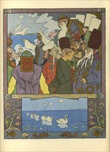 Ivan Tsarevich and Frog Princess, 1901. Artist: Bilibin, Ivan Yakovlevich (1876-1942)